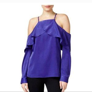 NWT Bar III XS Purple Cold Shoulder Blouse Top New